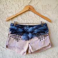 Ombre Dyed Denim Shorts Blue and Pink by VintageAristocracy
