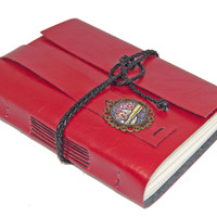Red Faux Leather Journal with Steampunk Cameo and Bookmark