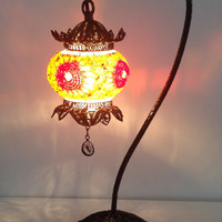 Handmade mosaic lamp with hand crafted copper base, Unique lamp, Ethnic lamp, Bedside night table lamp, Dinning table lamp, Home decor