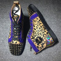 DCCK Cl Christian Louboutin Lou Spikes Style #2184 Sneakers Fashion Shoes