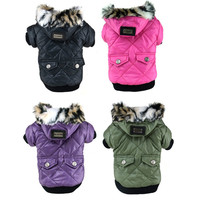 Large Puppy Dog Cute Warm Coat For Pet Faux Pockets Fur Trimmed Dog Hoodies Jacket Costume