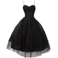 Vintage 1950's Black Tiered Tulle Lace Cocktail Dress
