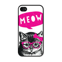 Cat Apple iPhone 4 Case - Plastic iPhone 4 Cover - Funny iPhone 4 Skin - Neon Pink Black Fluorescent Mustache Glasses Bow Phone