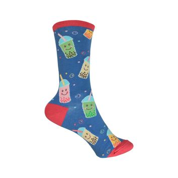 Feeling Bubbly Crew Socks in Deep Periwinkle