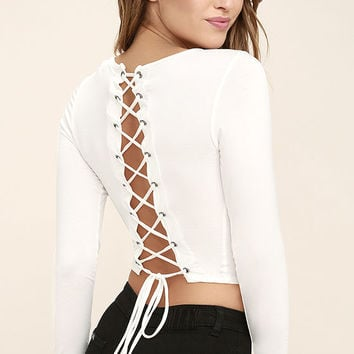 Sleek Discovery White Lace-Up Crop Top