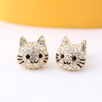KITTY stud earrings, 2colors | girlsluv.it - handmade jewelry collection, ETSY, Artfire, Zibbet, Earrings, Necklace