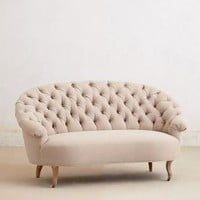 Tufted Priscilla Settee by Anthropologie Cream One Size Furniture