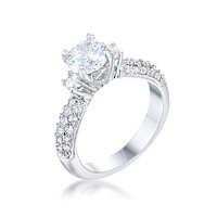 Nikita Round CZ Three Stone Engagement Ring | 2.8ct
