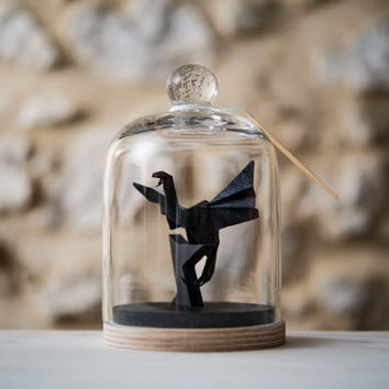 Sculpture origami dragon under a glass bell black by FlorigamiShop