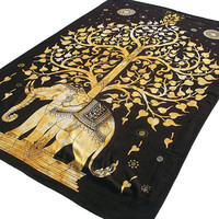 Elephant Tapestry Tree Twin Size Wall Decor Wall Hanging Indian Bedspread Throw Ethnic Home Decorative Art