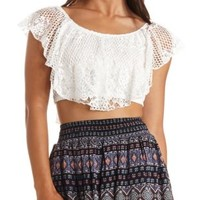 Mixed Lace Flounce Crop Top by Charlotte Russe