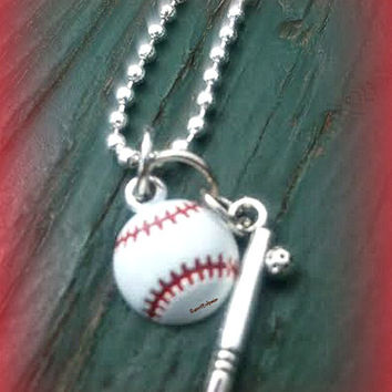 Softball Baseball Necklace with Bat,Sports Lover,Baseball Softball Mom,Ready to Ship,Direct Checkout