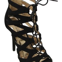 Bonnibel Cleo-2 Women's peep toe bondage lace up hollow zip closure high heel suede stiletto sandals