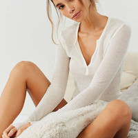 Out From Under Scarlett Thermal Notch Henley Top | Urban Outfitters