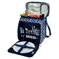Picnic Cooler for 2, Blue Trellis, Acrylic / Lucite, Coolers & Thermal Bags