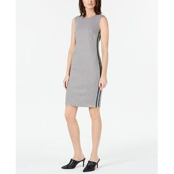 Calvin Klein Petite Houndstooth Sheath Dress - Black/White
