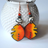 Orange Ethnic Earrings, Artisan Enamel Jewelry, Funky Leaf Earrings, Lampwork Glass Bead Earrings, Yellow Earrings, Large Artisan Earrings