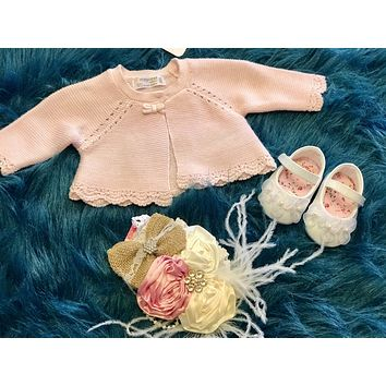 Mayoral Baby Pink Crochet Sweater