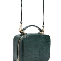 Faux Croc Structured Crossbody