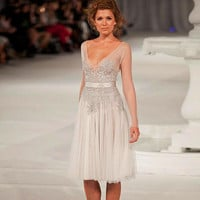 Fashion Paolo Sebastian Cocktail Dress Prom Party Dress With Appliques And Sequins Knee Length