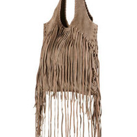Taupe Suede Fringed Shopper Bag - Bags & Purses - Accessories - Topshop USA