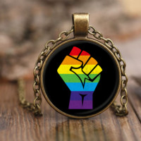 LGBT Resistance Necklace by Living Gay | Gay Necklace, LGBT Necklace, Lesbian Necklace