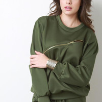 Front Zipper Jersey Knit Long Sleeve Top