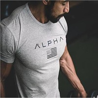 ALPHA 2018 New Brand clothing Gyms Tight t-shirt mens fitness t-shirt homme Gyms t shirt men fitness crossfit Summer tops
