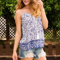 Maira Print Top - Blue