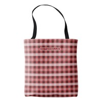 Personalized Red Plaid Tote Bag