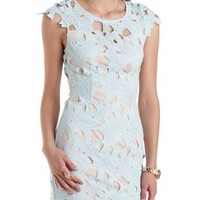 Mint All-Over Crochet Bodycon Dress by Charlotte Russe