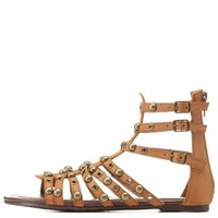 Cognac Studded Caged Gladiator Sandals by Charlotte Russe