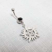Sun and Pentagram Belly Ring, navel barbell inspired by supernatural