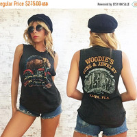 MAY SALE Vintage 1987 3D Emblem Rare Harley Davidson Forged In Our Souls Collectible Paper Thin Distressed Cut Off Muscle Tee || Small
