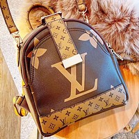 LV New fashion monogram print leather Book Bag Backpack Bag Handbag
