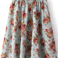 Green Elastic Waist Rose Printed Pleated Skirt