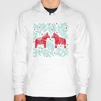 Swedish Dala Horses – Red & Mint Palette Hoody by catcoq