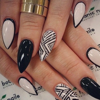 Light Cream and Black Tribal false nails set 10g nail glue included