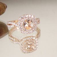 Cushion Peach Champagne Sapphire Infinity Engagement Ring 14k Rose Gold Diamond Halo Weddings Anniversary