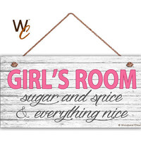 "GIRL'S ROOM Sign, Sugar and Spice, Girl's Room Decor, Nursery, Girl's Door Sign, 5"" x 10"" Sign, Room Plaque, Birthday Gift,  Made To Order"