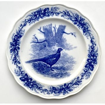 Antique Flow Blue Transferware Staffordshire Pheasant Plate Royal Cauldon