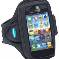 Armband for iPhone SE, 5, 5s, 5c, 4, 4S with OtterBox Defender, Commuter or Other Large Case - Great for Running, Workouts & Exercise [Black]