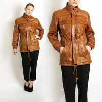 Vintage 70's 80's Camel Brown Genuine Leather Unisex Men's Women's Jacket