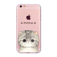Lovely Cat Soft Silicon Animal Transparent Clear Mobile Phone Back Cover Case For iPhone 6/6s