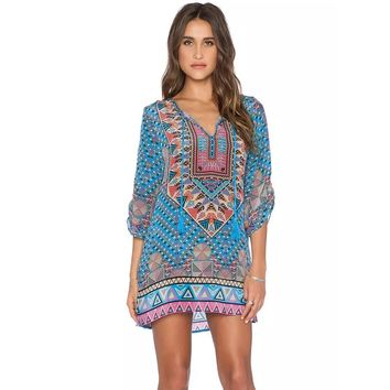 Bohemian Dress Vintage Printed Dresses Summer Shift Dress