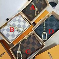 Louis Vuitton LV fashion men's and women's printed letter flip small wallet