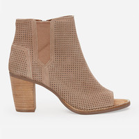 Toms Suede Perforated Majorca Womens Booties Stucco  In Sizes