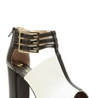 Black and White Faux Leather Peep Toe Chunky Booties