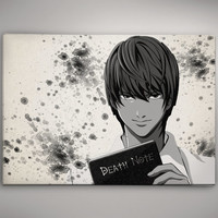 Death Note Light Watercolor illustrations Art Print Wall Art Poster Giclee Wall Anime Home Decor Wall Hanging Modern Geek Multi Size n229