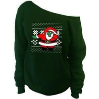 Dabbing Santa Claus Ugly Christmas Sweater   Off-The-Shoulder Oversized Slouchy Sweatshirt